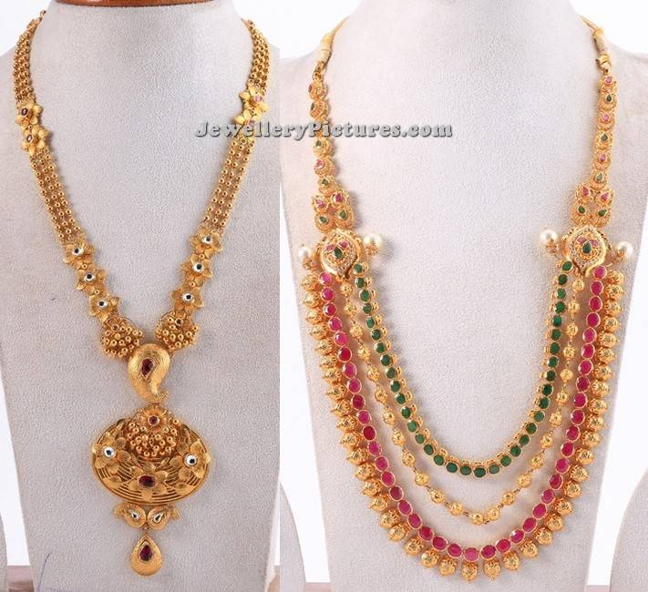 Pearl Jewellery Necklace >> Gold Long Necklace Designs in 50 Grams - Jewellery Designs
