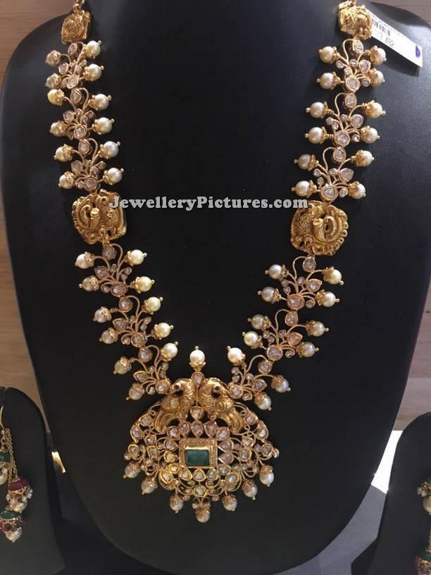 Beautiful Pachi Haram With Flat Diamonds Jewellery Designs